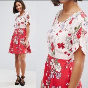 Floral Red ASOS Dress Size 10